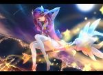1girl lancefate league_of_legends letterboxed long_hair looking_at_viewer luxanna_crownguard magical_girl night pink_eyes pink_hair sidesaddle smile solo star thigh-highs v_over_eye wand white_legwear