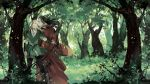 2boys back-to-back black_hair blonde_hair bow_(weapon) closed_eyes elf elrond forest leaf legolas long_hair looking_away lord_of_the_rings male_focus multiple_boys nature pointy_ears profile starshadowmagician tree weapon wind