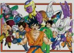 absurdres armor bald beard black_hair brown_hair dougi dragon_ball dragon_ball_z earrings facial_hair faux_traditional_media fighting_stance frame frieza glasses golden_frieza hakaishin_bills highres holding holding_glasses jaco_(ginga_patrol_jako) jewelry kadakku kuririn muten_roushi old_man outside_border piccolo scouter shirtless son_gohan son_gokuu sorbet_(dragon_ball) tagoma tenshinhan third_eye track_suit vegeta whis white_hair