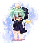 barefoot blush crescent_moon cup full_body green_hair moon mug nyaco object_on_head short_hair smile standing star tetsuya_(youkai_watch) youkai youkai_watch
