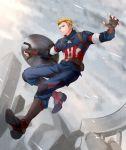 1boy akatsuki_sora avengers avengers:_age_of_ultron blonde_hair boots captain_america marvel shield solo steve_rogers superhero