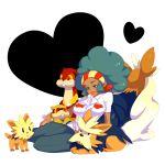 1girl afro aloe_(pokemon) breasts dark_skin green_hair gym_leader herdier lillipup patrat pokemon pokemon_(creature) pokemon_(game) pokemon_bw rotte_(nuuum) smile stoutland watchog