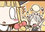 /\/\/\ adomi arms_up blonde_hair braid comic hat izayoi_sakuya kirisame_marisa knife maid millipen_(medium) no_eyes open_mouth sack short_hair silver_hair surprised tears touhou traditional_media twin_braids witch_hat