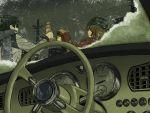 1girl blue_hair bonnet brown_hair can car car_interior couple food horuda ice_cream kaito meiko motor_vehicle power_lines scarf short_hair smile snow vehicle vocaloid