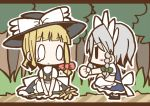 0_0 adomi blonde_hair braid comic flower forest hat izayoi_sakuya kirisame_marisa maid millipen_(medium) nature short_hair silver_hair tears touhou traditional_media tree twin_braids witch_hat