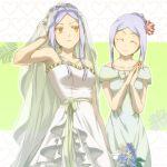 bridal_veil bride closed_eyes dress dual_persona flower gundam gundam_00 hair_ornament mimana smile soma_peries veil wedding_dress yellow_eyes