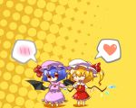 2girls :d ^_^ bad_id bat_wings blonde_hair blue_hair blush chibi closed_eyes eiri_(eirri) fang flandre_scarlet halftone halftone_background hand_holding happy hat heart holding_hands multiple_girls open_mouth ponytail red_eyes remilia_scarlet short_hair siblings side_ponytail sisters smile spoken_blush spoken_heart touhou wings