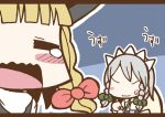 adomi blonde_hair braid closed_eyes comic crying hat izayoi_sakuya kirisame_marisa maid millipen_(medium) no_eyes open_mouth short_hair silver_hair sweat tears touhou traditional_media twin_braids witch_hat