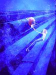 1boy 1girl black_hair blue hands_clasped holding_hands jacket jeans kasumi_(pokemon) mermaid monster_girl orange_hair pokemon pokemon_special red_(pokemon) seashell_bra shoes short_hair underwater