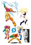 1girl alternate_costume arm_cannon blonde_hair blue_eyes crop_top highres long_hair metroid midriff ponytail samus_aran short_shorts shorts smolby varia_suit weapon