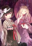 2girls ^_^ alternate_costume alternate_hairstyle alternate_headwear blonde_hair blush bow braid brown_eyes brown_hair closed_eyes domotolain facing_viewer gloves hair_bow hair_ornament hair_ribbon hakama hand_on_headwear hat hat_bow hat_ribbon holding holding_umbrella japanese_clothes kimono lace-trimmed_sleeves long_hair long_skirt long_sleeves looking_at_viewer maribel_hearn multiple_girls obi open_mouth oriental_umbrella ribbon sash short_hair side_braid single_braid skirt smile standing string striped suitcase touhou umbrella usami_renko white_gloves wide_sleeves yagasuri