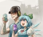 1boy 1girl bandaged_arm bandages baseball_cap blue_dress blue_eyes blue_hair bowtie can cirno crossover dress drink evil_grin evil_smile grin hair_ornament hair_ribbon hat headset ice ice_wings omaesan_(camp-192) open_mouth parody pose puffy_sleeves ribbon shirt short_hair short_sleeves smile t-shirt team_fortress_2 the_scout touhou vest wings