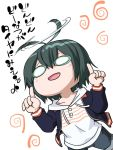 1girl ahoge black_hair blush chibi green_hair hoodie index_finger_raised jacket open_mouth shirobako solo teoshiguruma toudou_misa translation_request