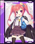 1girl backpack bag blazer daibouken!_yukeyuke_osawari_island fang loli long_hair ochinsama official_art red_eyes redhead solo thigh-highs twintails