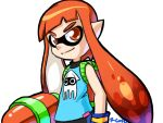 1girl blooper cameo inkling mask orange_eyes orange_hair pointy_ears robert_j_case signature sleeveless solo splatoon super_mario_bros. super_soaker tentacle_hair white_background wristband