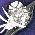1girl blonde_hair colored_eyelashes commentary_request crack eyes fourth_wall fuyuno_(kiddyland) gap hat hat_ribbon lips long_fingers looking_at_viewer mob_cap open_mouth pale_skin pov reaching_out ribbon short_sleeves solo static touhou violet_eyes yakumo_yukari