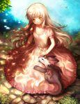 1girl blonde_hair blush dappled_sunlight dragon dress long_hair nishizawa original pink_dress red_eyes smile solo very_long_hair yellow_eyes