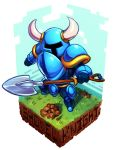 1boy armor character_name copyright_name dirt full_armor full_body helmet horned_helmet koi_drake no_eyes shovel shovel_knight shovel_knight_(character) solo worktool
