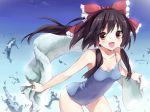 1girl hakurei_reimu one-piece_swimsuit open_mouth solo swimsuit touhou towel zhongye_yu