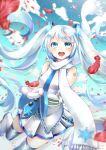 1girl blue_eyes boots detached_sleeves feathers hatsune_miku long_hair looking_at_viewer maronie. mittens necktie scarf skirt sleeveless solo thigh-highs thigh_boots twintails very_long_hair vocaloid white_hair white_skirt yuki_miku