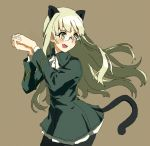 1girl :d animal_ears black_legwear blonde_hair brown_background cat_ears cat_tail cravat hands_clasped long_hair long_sleeves military military_uniform open_mouth pantyhose perrine_h_clostermann shiratama_(hockey) simple_background smile solo strike_witches tail uniform yellow_eyes