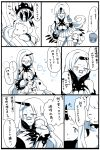 :3 :d ^_^ airfield_hime blush breasts bucket claws cleavage closed_eyes comic highres horn horns kantai_collection kobone long_hair mittens monochrome northern_ocean_hime open_mouth petting seaport_hime seaport_water_oni shinkaisei-kan sitting smile translation_request