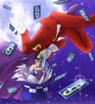 blue_eyes cape card formal gloves hat jack_jones joker_(kaitou_joker) kaitou_joker midair moon necktie open_mouth silver_hair sky smile star_(sky) starry_sky suit top_hat upside-down white_gloves