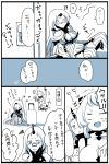 airfield_hime breasts broken_horn claws cleavage comic gloom_(expression) highres horn horns kantai_collection kobone long_hair mittens monochrome northern_ocean_hime seaport_hime seaport_water_oni shinkaisei-kan suitcase translation_request