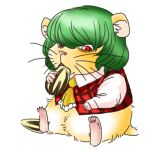 animalization ascot eating green_hair hamster hamster_ears kazami_yuuka locomon long_sleeves lowres plaid plaid_vest red_eyes seed short_hair simple_background sitting sunflower_seed touhou whiskers white_background