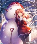 1girl absurdres black_legwear blush building character_request christmas christmas_lights coat company_name dutch_angle en@rain gloves hairband hat highres hood lamppost long_hair outdoors pantyhose pink_hair red_eyes santa_hat scarf shingeki_no_bahamut shovel skirt smile snow snowman solo steepled_fingers tree two_side_up watermark white_gloves worktool