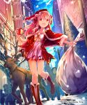 1girl :d absurdres arm_up bare_tree bird boots bow box building capelet character_request christmas christmas_lights collarbone company_name dress dutch_angle en@rain fur_trim gift gift_box hair_bow hairband hat highres holding knees_together_feet_apart lamppost long_hair open_mouth outdoors outstretched_arm pink_hair red_eyes sack santa_costume santa_hat shingeki_no_bahamut smile snow solo_focus standing_on_one_leg tree two_side_up watermark
