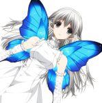 1girl breasts butterfly_wings dress grey_eyes long_hair misteor original solo white_dress white_hair wings