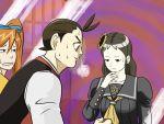 2girls blush gameplay_mechanics gyakuten_saiban kizuki_kokone looking_at_breasts morizumi_shinobu multiple_girls odoroki_housuke river_(artist)