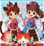 1boy 1girl amano_keita animal_ears bell bow brown_hair brown_legwear cat cat_ears closed_eyes crossdressing dated drooling fangs hair_bow heart high_ponytail jibanyan jingle_bell kemonomimi_mode kodama_fumika long_hair looking_at_viewer multiple_tails notched_ear open_mouth paw_pose polka_dot short_hair smile tail thigh-highs thought_bubble translation_request two_tails unmoving_pattern yamaki_suzume youkai youkai_watch