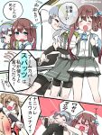 >_< 1boy 3girls ^_^ admiral_(kantai_collection) arm_warmers asagumo_(kantai_collection) blush brown_hair closed_eyes fang flying_sweatdrops grey_skirt hairband hitting kantai_collection long_hair michishio_(kantai_collection) mitsudoue multiple_girls nose_blush pleated_skirt short_sleeves silver_hair skirt suspenders sweat translation_request wavy_mouth yamagumo_(kantai_collection)