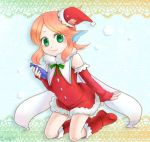 1girl angelfish boots fish_girl green_eyes hat head_fins monster_girl orange_hair pop'n_music santa_costume santa_hat smile solo tetra_(pop'n_music)