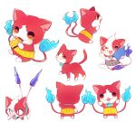 >_o buchinyan candy_bar cat eating fangs from_behind jibanyan makoto_(konbumi) multiple_tails no_humans notched_ear one_eye_closed open_mouth simple_background slit_pupils tablet_pc tail two_tails white_background youkai youkai_pad youkai_watch youkai_watch_2