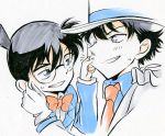 2boys black_hair blue_eyes bowtie edogawa_conan formal hat izumo_neko kaitou_kid meitantei_conan monocle multiple_boys necktie suit top_hat