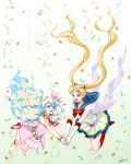 2girls :d belt bishoujo_senshi_sailor_moon blonde_hair blue_eyes blue_hair boots bow brooch choker crossover double_bun elbow_gloves floral_background gloves hair_ornament hairpin highres holding_hands ike_(eun2ke) jewelry knee_boots long_hair magical_girl multicolored_eyes multicolored_hair multiple_girls necktie nia_teppelin open_mouth pink_eyes pink_skirt pleated_skirt red_boots red_bow red_necktie red_shoes sailor_collar sailor_moon shoes skirt smile super_sailor_moon symbol-shaped_pupils tengen_toppa_gurren_lagann tsukino_usagi twintails two-tone_hair white_gloves white_hair
