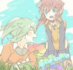 2boys blue_eyes fei_rune flower grass green_eyes green_hair inazuma_eleven_(series) inazuma_eleven_go jacket kirino_ranmaru long_hair male_focus multiple_boys open_clothes open_jacket open_mouth outdoors pink_hair raimon raimon_soccer_uniform soccer_uniform sportswear ticktack_chicken track_jacket twintails twitter_username