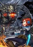 1girl akuko_(arc) blue_eyes bodysuit cosplay evolve_(video_game) gia gun hat headset jetpack monster original redhead short_hair weapon