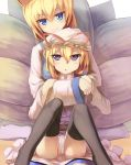 2girls amber_eyes animal_ears blonde_hair bow dress fox_ears fox_tail frills hat highres kyuubi long_hair mob_cap multiple_girls multiple_tails panties pantyshot pantyshot_(sitting) pillow_hat ribbon seneto sitting tabard tail tassel touhou underwear violet_eyes white_dress yakumo_ran yakumo_yukari