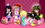 5girls answered_prayers bean_bag beret black_hair blonde_hair blue_eyes blush_stickers broken_egg brown_hair cameo character_request cookie drawing egg fluorette food food_on_head fruit gaida glitter green_hair halo hat highres kneeling lying multiple_girls my_little_pony object_on_head on_stomach pink_eyes rabbit seiza sitting sleeves_past_wrists yellow_eyes
