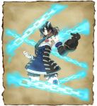 1girl black_hair bloodstained:_ritual_of_the_night blue_eyes brown_hair concept_art detached_sleeves gauntlets gradient_hair hair_between_eyes hair_ornament miriam_(bloodstained) multicolored_hair natsume_yuji official_art short_hair solo stained_glass