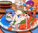 27_degrees barefoot cameo conveyor_belt_sushi highres inkling mario nyotaimori rob_(splatoon) sleeping splatoon super_mario_bros. swimsuit