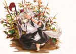 1girl adapted_costume alternate_costume animal_ears barefoot full_body hakama hat inubashiri_momiji japanese_clothes kimono long_sleeves looking_at_viewer looking_back red_eyes short_hair silver_hair smile smirk soles solo squatting string sword tail tiptoes toeless_socks tokin_hat tora_jun touhou weapon wide_sleeves wolf_ears wolf_tail