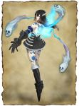 1girl black_hair bloodstained:_ritual_of_the_night blue_eyes brown_hair concept_art detached_sleeves gauntlets gradient_hair hair_between_eyes hair_ornament looking_at_viewer miriam_(bloodstained) multicolored_hair natsume_yuji official_art short_hair solo stained_glass