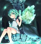 1girl antennae bare_arms bare_legs barefoot cape cave glowing glowing_butterfly green_eyes green_hair killing shirt shorts sitting sleeveless sleeveless_shirt soaking_feet solo touhou wriggle_nightbug