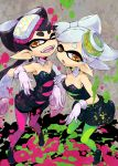 2girls ;d aori_(splatoon) black_hair detached_collar dress earrings fangs food food_on_head gloves green_legwear hotaru_(splatoon) jewelry long_hair mask mole mole_under_eye multiple_girls object_on_head one_eye_closed open_mouth orange_eyes paint paint_splatter pantyhose pointy_ears purple_legwear short_hair siblings simple_background smile splatoon strapless_dress unitard utsugi_(skydream) white_gloves