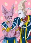 animal_ears arm_cuffs artist_name cat_ears dragon_ball dragon_ball_z earrings egyptian_clothes finger_in_mouth food fruit grey_hair hakaishin_bills jewelry neck_ring pink_background raku220p robe signature spoon strawberry tail whipped_cream whis wrist_cuffs